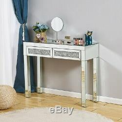 Sparkly Shiny Mirrored Dressing Table Mirror Stool Make Up Desk Chair Vanity Set