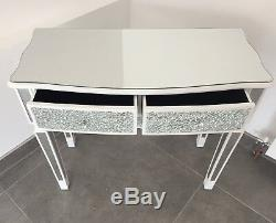 Sparkly White Crackle Mosaic Mirrored Glass 2 Drawer Dressing/ Console Table