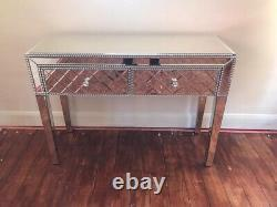 Stunning Glass Mirrored Dressing Table With Crystal Handles 2 Drawers Modern