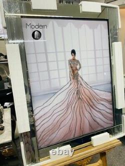 Stunning Lady in Pink Flowing dress picture in mirror frame, Glitter art picture