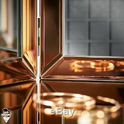 Tri Fold Desktop Vanity Mirror Bevelled Glass Design Makeup Dressing Table Gold