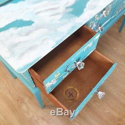 Turquise Blue Bird Design Stag Dressing Table & Mirrors FREE DELIVERY