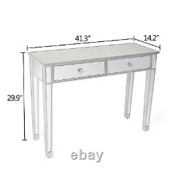 UK Mirrored Console Table Hallway Mirrored Drawer Dressing Lounge Bedroom