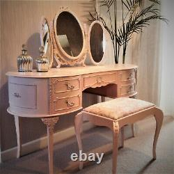 Upcycled French Style Dressing Table/Stool/mirror shell pink