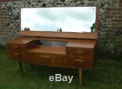 VINTAGE 1960s NEWBURY TEAK DRESSING TABLE mirror /glass door DANISH STYLE G PLAN