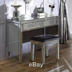 Valencia Mirrored Silver Wood Upholstered Dressing Table Stool