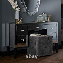 Valentina Mirrored Glass 5 Drawer Bedroom Dressing Table Set/Crystal Knobs