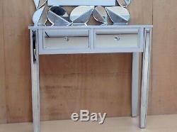 Valetta Silver wood Mirrored Glass Console Dressing Table width 90cm