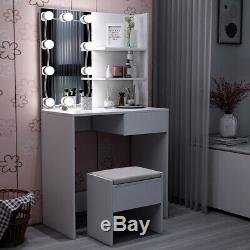 Vanity Dressing Table Stool Set Makeup Dresser Desk Mirror with 10 LED Bulbs