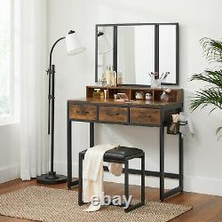 Vanity Table Set with Stool, Makeup Table with Tri-Fold Mirror, Dressing Table
