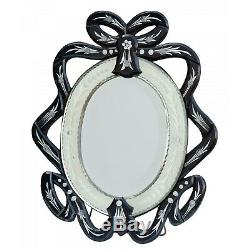 Venetian Art Deco Black Clear Etched Glass Crest Oval Dressing Table Wall Mirror