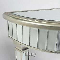 Venetian Champagne Silver Dressing Table Half Moon Mirrored Console Table