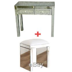 Venetian Glass Mirrored Bedroom Dressing Table or Console Table with Stool UK