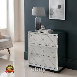 Venetian Mirrored 3 Drawers Chest Dressing Sideboard Bedroom Cabinet Furniture