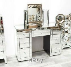 Venetian Mirrored 7 Drawer Dressing Vanity Table Modern Mirror Furniture Crystal