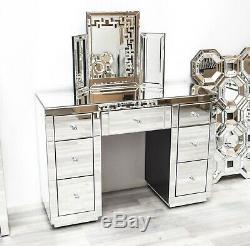 Venetian Mirrored 7 Drawer Vanity Dressing Table Modern Mirror Furniture Crystal