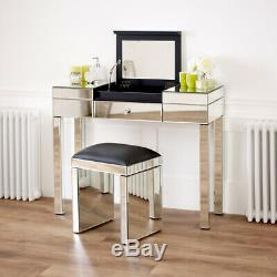 Venetian Mirrored Compartment Dressing Table Bedroom Furniture VEN92