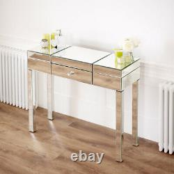Venetian Mirrored Compartment Dressing Table with Black Stool VEN92 VEN05B