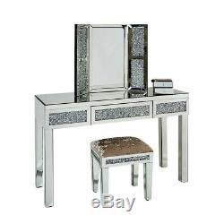 Venetian Mirrored Dressing Table Set Vanity Mirror Stool Diamond Crushed Crystal