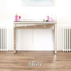 Venetian Mirrored Dressing Table Set with White Stool VEN66-VEN05W-VEN41