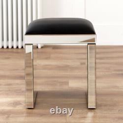 Venetian Mirrored Dressing Table with Black Stool Vanity Unit Set VEN66-VEN05B