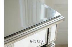Venetian Mirrored Single Drawer Silver Dressing / Side Table