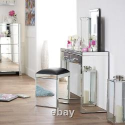 Venetian Mirrored Stool with Black Seat Pad Glass Dressing Table VEN05B
