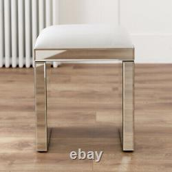 Venetian Mirrored Stool with White Seat Pad Glass Dressing Table VEN05W