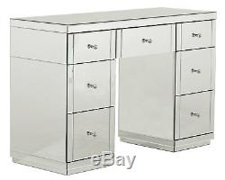 Venetian Silver Mirrored Dressing Table & Tri-fold Vanity Mirror & Stool Bedroom