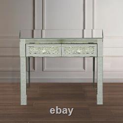 Vintage Dressing Table 2 Drawer Makeup Mirrored silver Glass Drawer Desk Bedroom