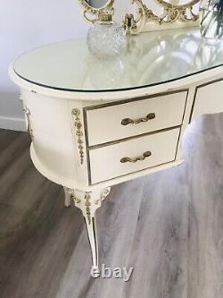Vintage French Louis Style Dressing Table & Triple Mirror New Glass Top
