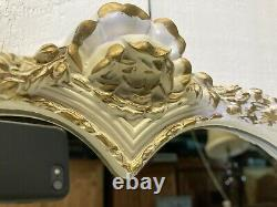 Vintage French Louis Style Dressing Table Triptic Mirror Protective Glass &Stool