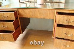 Vintage Kneehole Concave Dressing Table With Glass Top And Triple Mirror