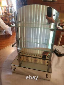 Vintage MCM All Mirror Table Top Vanity Dressing Mirror Drawer Glass Shelves