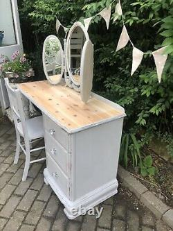 Vintage Pine Shabby Chic Dressing Table, Chair & Mirror Annie Sloan