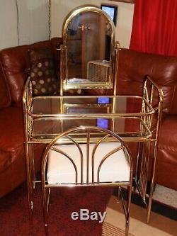 Vintage Set Mid Century Mirror Gold Metal & Glass Vanity Dressing Table & Bench