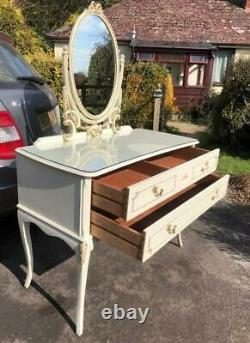 Vintage Shabby Chic French Louis Dressing Table Glass Top 2 Draws & Tilt Mirror