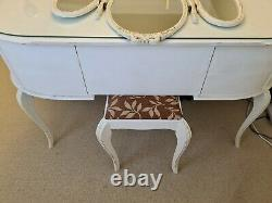 Vintage Shabby chic Louis Style Kidney Dressing Table with Glass Mirror Stool