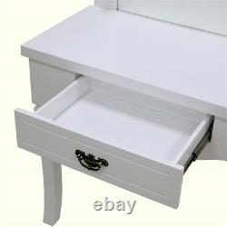 White 10 LED Light Mirror Bedroom Dressing Hollywood Vanity MakeUp Table Dresser