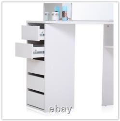 White Corner Dressing Table Woman Make Up Unit Vanity Mirror Room Dresser Desk