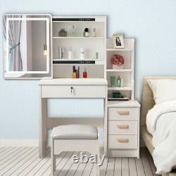 White Dressing Table Makeup Desk Stool Set with Drawers Mirror LED Light