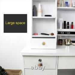 White Dressing Table Makeup Desk with 6 Drawer Sliding Mirror Stool LED Light Set
