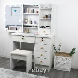 White Dressing Table Makeup Table with Sliding Mirror, Stool, 6Drawers & 10LED Blubs