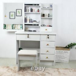 White Dressing Table Stool Set, Sliding Mirror 6 Drawers with 6 Shelves