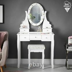White Dressing Table Vanity Mirror LED Lights 5 Drawers Stool Bedroom Makeup Set