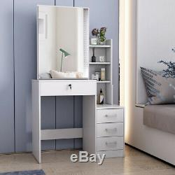 White Dressing Vanity Table Makeup Dresser With Large Sliding Mirror 3 Drawers