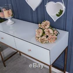 White Glass Console Dressing Table Rose Gold Venetian Bedroom Hallway Home