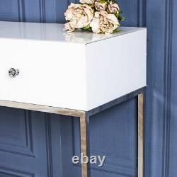 White Glass Console Dressing Table Silver Venetian Bedroom Hallway Home Decor