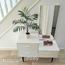 White MID 20th C Upcycled Asymmetrical Dressing Table With 3 Drawers & Mirror