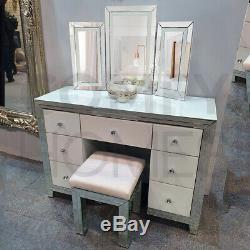 White Mirrored Blanka Dressing Table Set FREE DELIVERY AVAILABLE